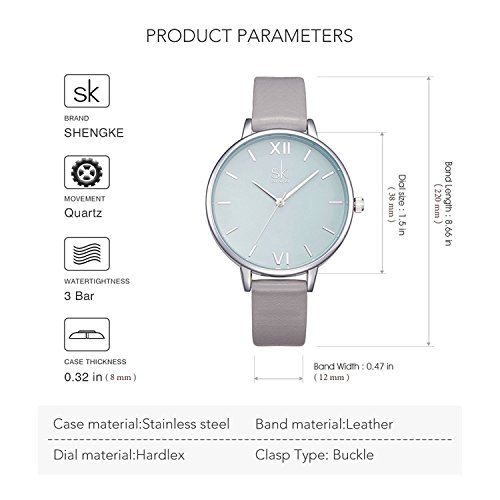 SHENGKE Creative Simplicity Women Watch Genuine Leather Elegant Women Watches Ladies Business Wristwatch 8