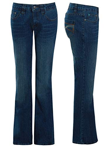 SS7 Womens Mid Blue Relaxed Fit Flared Denim Jeans 5