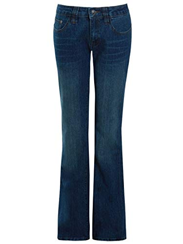 SS7 Womens Mid Blue Relaxed Fit Flared Denim Jeans 1