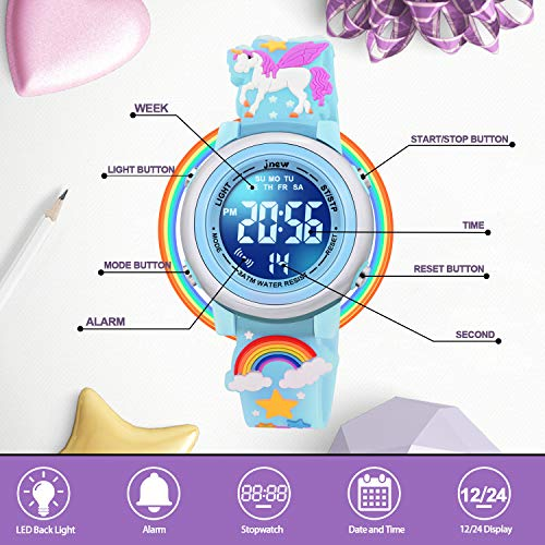 SUPZOE 3D Cartoon Waterproof Kids Watches for Girls with Alarm - Best Toys Gifts for Girls Age 3-10 7
