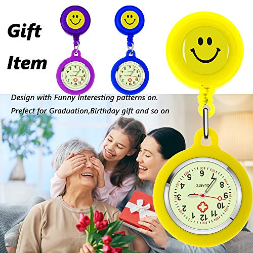 SibyTech Nurse Fob Watch, Clip-on Hanging & Retractable Medical Pocket Watch for Men Women,Pointer Glow in Dark… 4