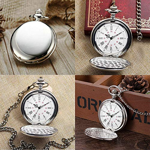 Smooth Vintage Steel Quartz Pocket Watch Classic Fob Pocket Watch with Short Chain for Men Women - Gift for Birthday… 3