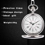 Smooth Vintage Steel Quartz Pocket Watch Classic Fob Pocket Watch with Short Chain for Men Women - Gift for Birthday… 23