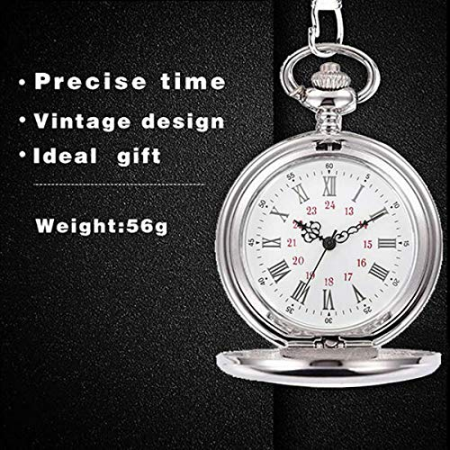Smooth Vintage Steel Quartz Pocket Watch Classic Fob Pocket Watch with Short Chain for Men Women - Gift for Birthday… 4