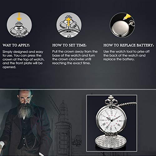 Smooth Vintage Steel Quartz Pocket Watch Classic Fob Pocket Watch with Short Chain for Men Women - Gift for Birthday… 5
