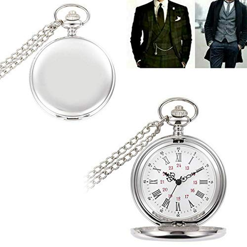 Smooth Vintage Steel Quartz Pocket Watch Classic Fob Pocket Watch with Short Chain for Men Women - Gift for Birthday… 6