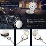 Smooth Vintage Steel Quartz Pocket Watch Classic Fob Pocket Watch with Short Chain for Men Women - Gift for Birthday… 26