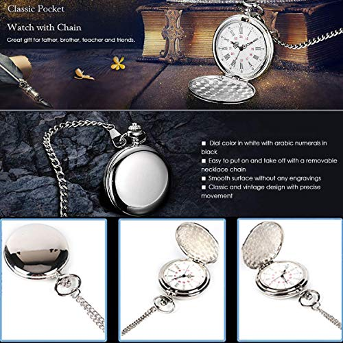 Smooth Vintage Steel Quartz Pocket Watch Classic Fob Pocket Watch with Short Chain for Men Women - Gift for Birthday… 7