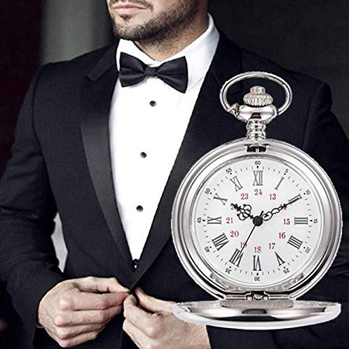 Smooth Vintage Steel Quartz Pocket Watch Classic Fob Pocket Watch with Short Chain for Men Women - Gift for Birthday… 8