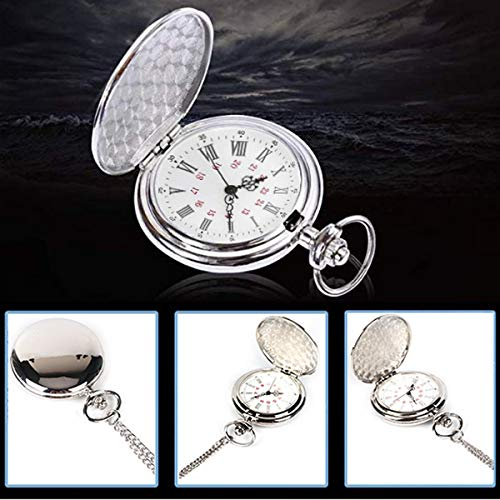 Smooth Vintage Steel Quartz Pocket Watch Classic Fob Pocket Watch with Short Chain for Men Women - Gift for Birthday… 9