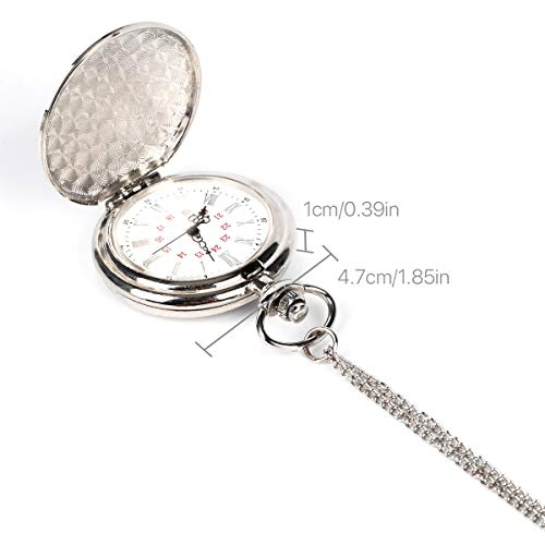 Smooth Vintage Steel Quartz Pocket Watch Classic Fob Pocket Watch with Short Chain for Men Women - Gift for Birthday… 10