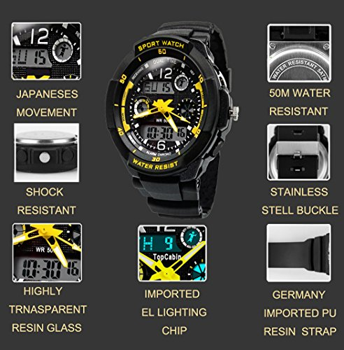 TOPCABIN Digital-Analog Kids Teenager Boys Girls Sport Digital Watch with Alarm Stopwatch Chronograph - 50m Water Proof… 4