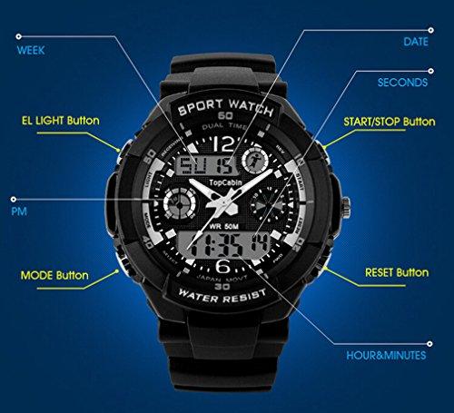 TOPCABIN Digital-Analog Kids Teenager Boys Girls Sport Digital Watch with Alarm Stopwatch Chronograph - 50m Water Proof… 7