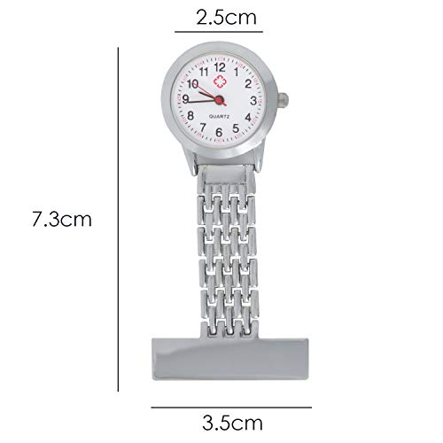 TRIXES Nurses Silver Fob Watch - Stainless Steel Quartz - Doctor Pocket Watch - Medical Professional Clip On Fob Watch 3