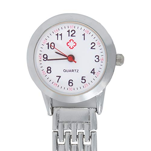 TRIXES Nurses Silver Fob Watch - Stainless Steel Quartz - Doctor Pocket Watch - Medical Professional Clip On Fob Watch 4