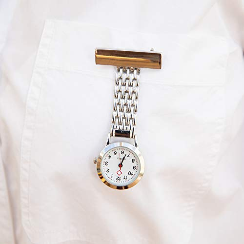 TRIXES Nurses Silver Fob Watch - Stainless Steel Quartz - Doctor Pocket Watch - Medical Professional Clip On Fob Watch 5