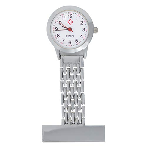 TRIXES Nurses Silver Fob Watch - Stainless Steel Quartz - Doctor Pocket Watch - Medical Professional Clip On Fob Watch 1