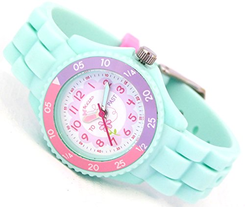 Tikkers Children's Girls Aqua Green Flowers Theme Silicone Time Teacher/Tutor Watch - NTK0004 5