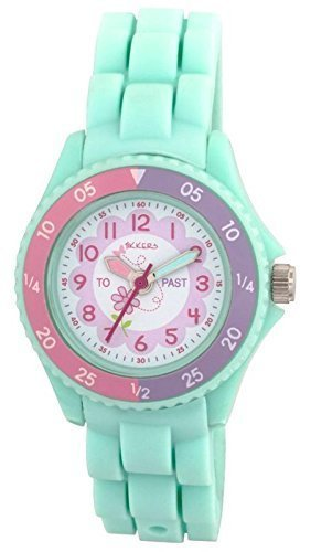 Tikkers Children's Girls Aqua Green Flowers Theme Silicone Time Teacher/Tutor Watch - NTK0004 1
