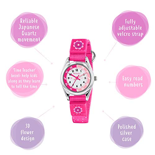 Tikkers Girls' Analogue Quartz Watch with Fabric and Canvas Strap – TK0119 3