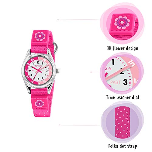 Tikkers Girls' Analogue Quartz Watch with Fabric and Canvas Strap – TK0119 8