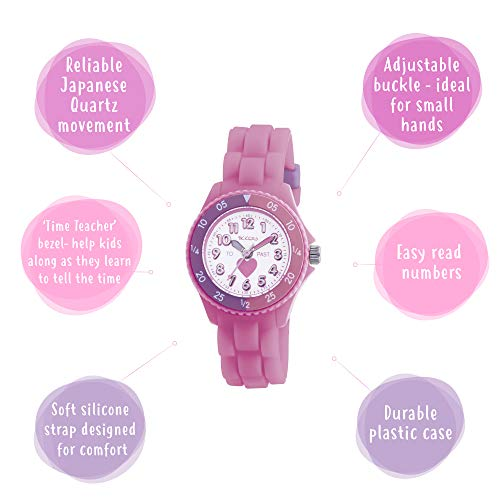 Tikkers Kids Time Teacher Pink Rubber/Silicone Strap Watch TK0003 Heart Design 3