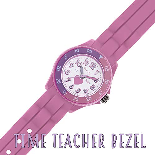 Tikkers Kids Time Teacher Pink Rubber/Silicone Strap Watch TK0003 Heart Design 4
