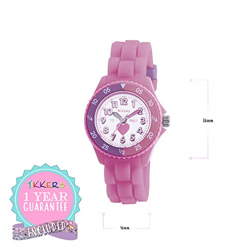 Tikkers Kids Time Teacher Pink Rubber/Silicone Strap Watch TK0003 Heart Design 5