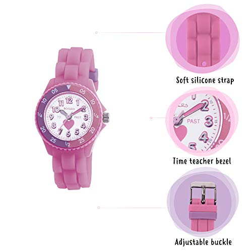 Tikkers Kids Time Teacher Pink Rubber/Silicone Strap Watch TK0003 Heart Design 6