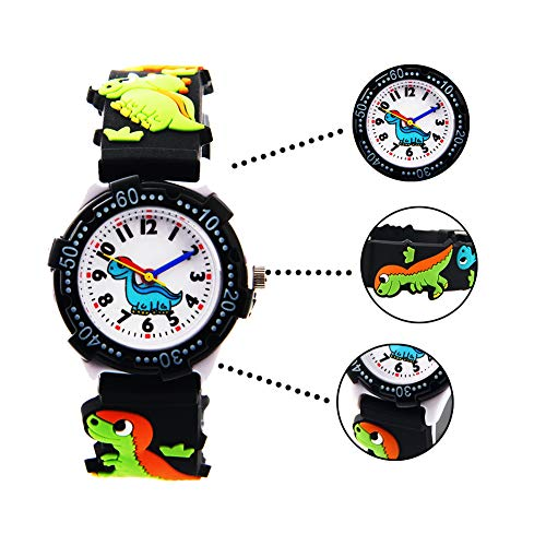 Vinmori Kid's Watch,3D Cartoon Pattern Silicone Band Waterproof Quartz Watch Gift for Children Boys Girls 3