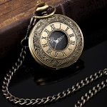Vintage Pocket Watch Steel Men Watch with Chain (Bronze) 16