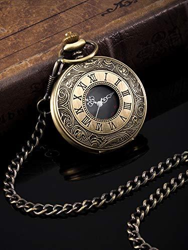 Vintage Pocket Watch Steel Men Watch with Chain (Bronze) 3