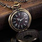 Vintage Pocket Watch Steel Men Watch with Chain (Bronze) 17