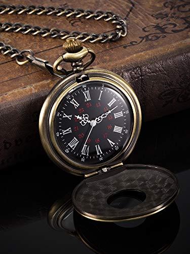 Vintage Pocket Watch Steel Men Watch with Chain (Bronze) 4