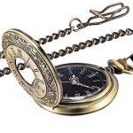 Vintage Pocket Watch Steel Men Watch with Chain (Bronze) 15