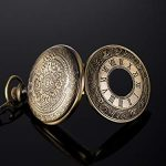 Vintage Pocket Watch Steel Men Watch with Chain (Bronze) 18