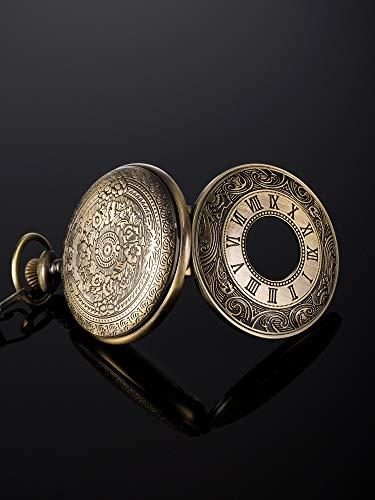 Vintage Pocket Watch Steel Men Watch with Chain (Bronze) 5