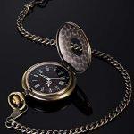 Vintage Pocket Watch Steel Men Watch with Chain (Bronze) 19