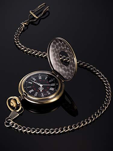 Vintage Pocket Watch Steel Men Watch with Chain (Bronze) 6