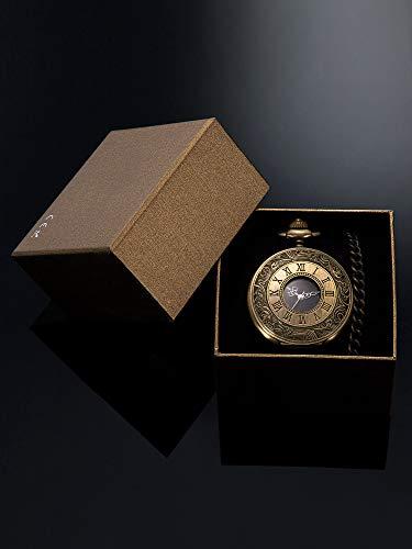 Vintage Pocket Watch Steel Men Watch with Chain (Bronze) 7