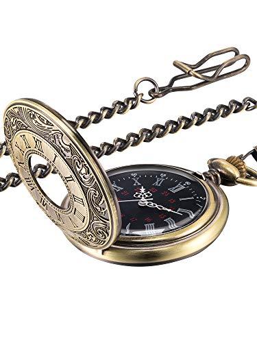 Vintage Pocket Watch Steel Men Watch with Chain (Bronze) 1