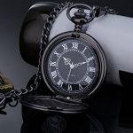 Vintage Roman Numerals Scale Quartz Pocket Watch with Chain 18