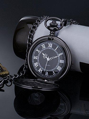 Vintage Roman Numerals Scale Quartz Pocket Watch with Chain 3