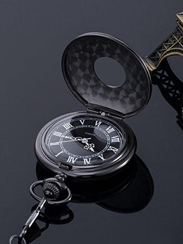 Vintage Roman Numerals Scale Quartz Pocket Watch with Chain 4