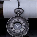 Vintage Roman Numerals Scale Quartz Pocket Watch with Chain 20
