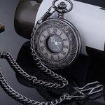 Vintage Roman Numerals Scale Quartz Pocket Watch with Chain 21