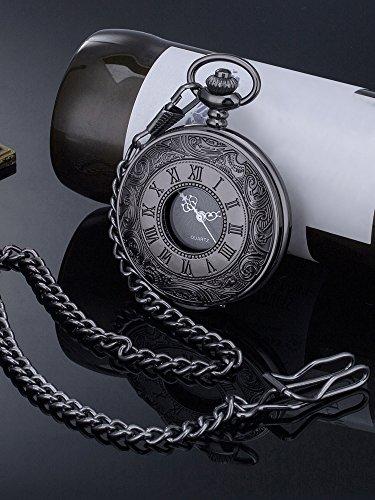 Vintage Roman Numerals Scale Quartz Pocket Watch with Chain 6