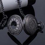 Vintage Roman Numerals Scale Quartz Pocket Watch with Chain 22