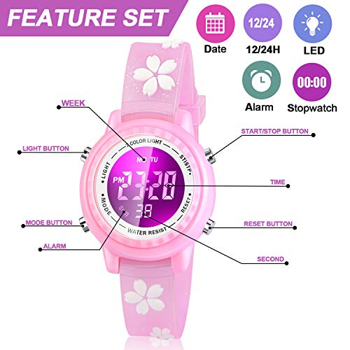 Viposoon Gifts for 3 4 5 6 7 8 9 Year Old Girls, 3D Kids Waterproof Watch Toy for 4-8 Year Old Girls Birthday Gifts for… 3