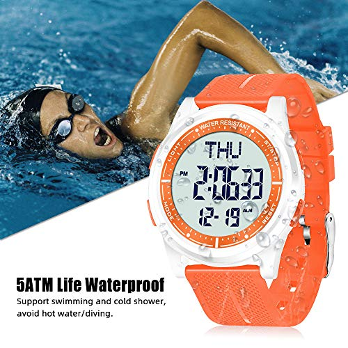 WIFORT Mens Women Digital Sports Watch Ultra-Thin and Wide Angle Vision Design, 5ATM Swimming Waterproof, Countdown Dual… 4